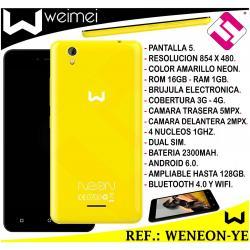 SMARTPHONE WEIMEI NEON AMARILLO 5 PULGADAS 16GB ROM 1GB 5MP 4G QUADCORE 4G LIBRE