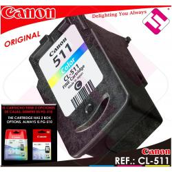TINTA COLOR CANON CL 511 ORIGINAL CARTUCHO TRICOLOR IMPRESORA CL-511 ECONOMICO