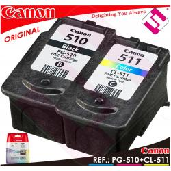 PACK TINTA CANON PG 510 CL 511 NEGRA + COLOR ORIGINAL CARTUCHO PG-510 CL-511