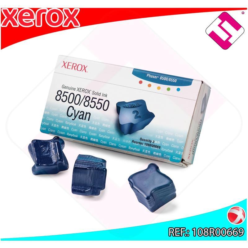 XEROX CARTUCHO TINTA SOLIDA CIAN 3 BARRAS PHASER/8500/8550