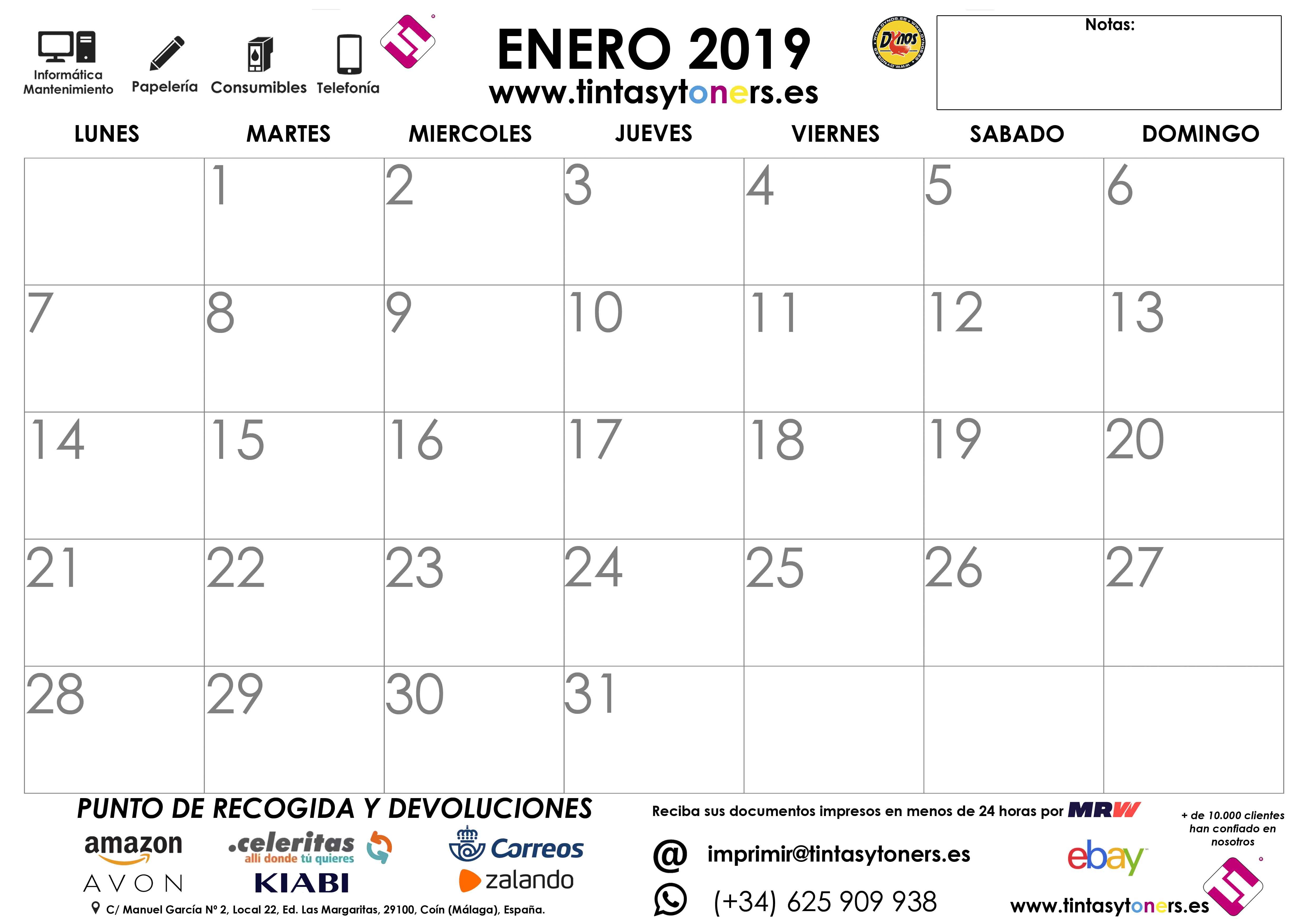 1 ENERO 2019 CALENDARIO TINTASYTONERS 2019