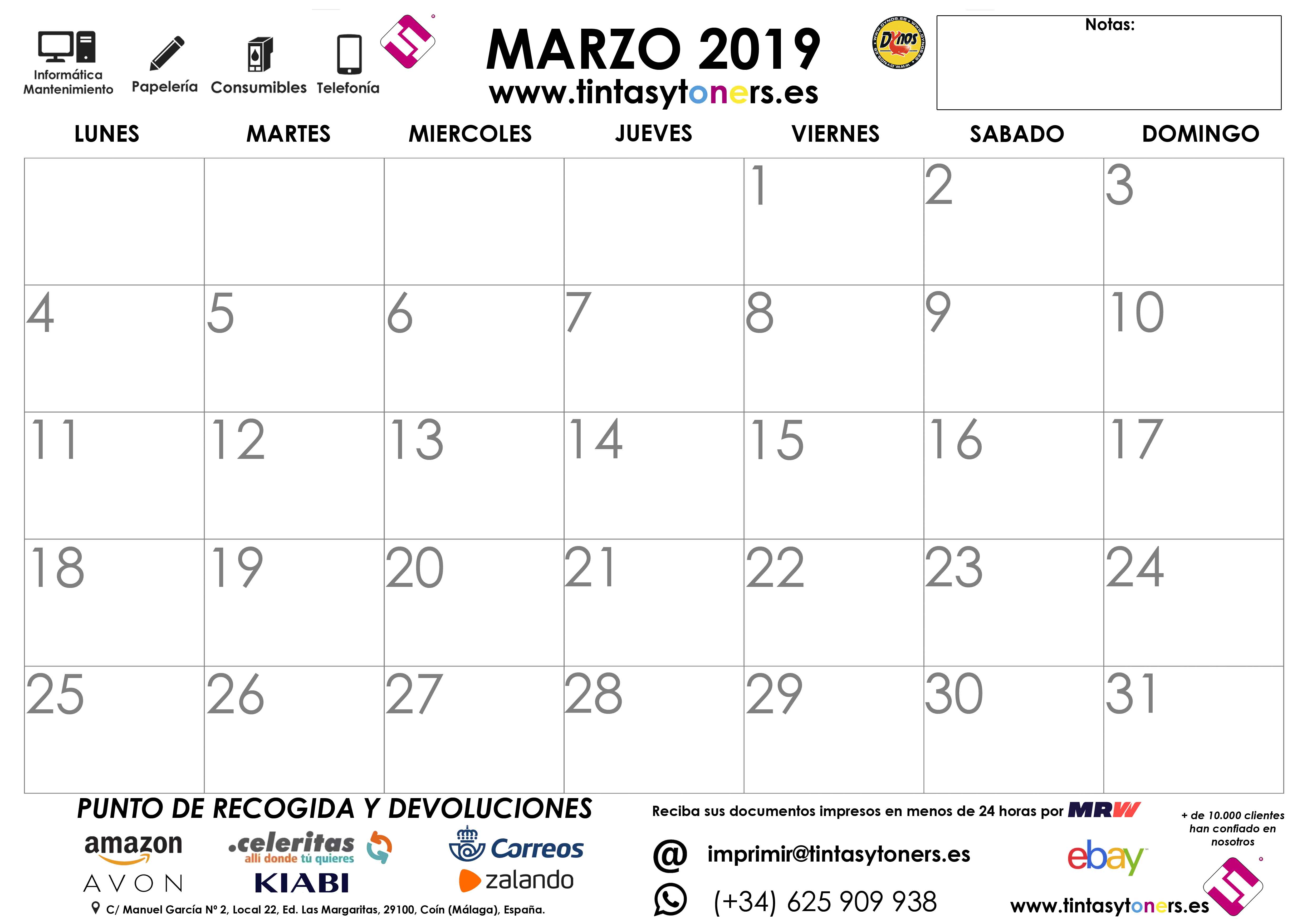 3 MARZO 2019 CALENDARIO TINTASYTONERS