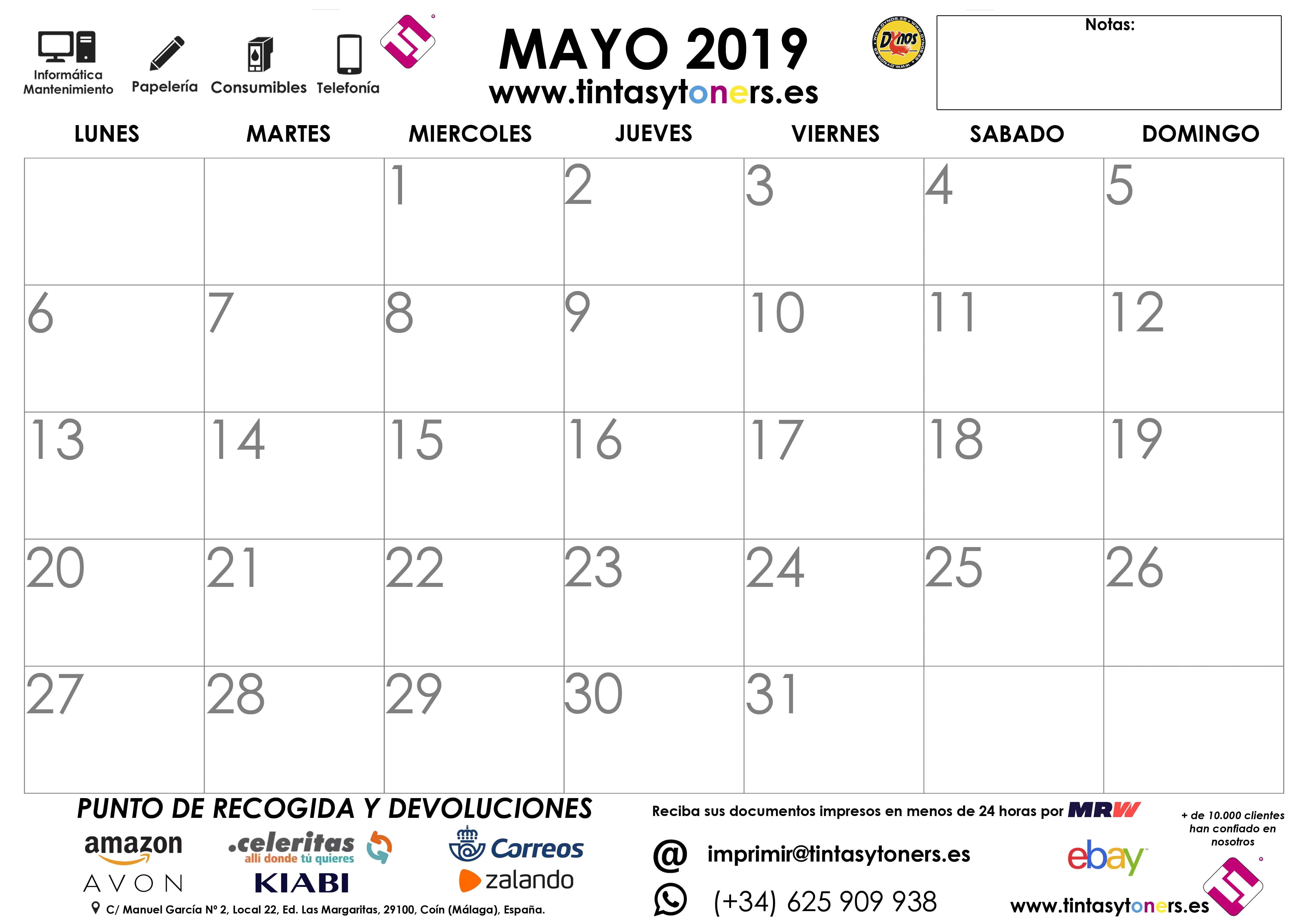Calendario Mayo2019.Calendario Tintasytoners Din A4 Din A3 Gratis Para Descargar Mayo 2019