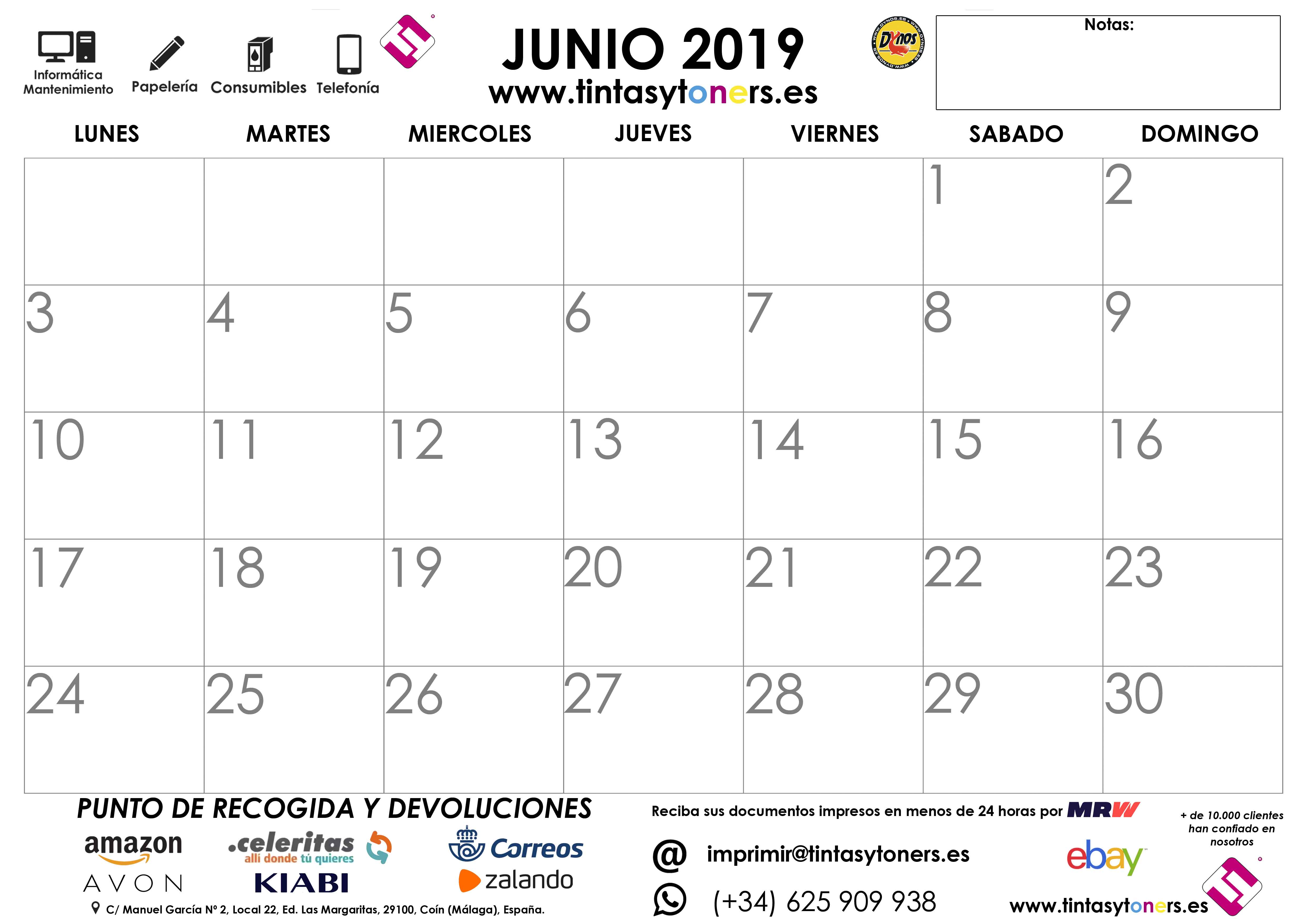 Calendario De Junio.Calendario Tintasytoners Din A4 Din A3 Gratis Para Descargar Junio