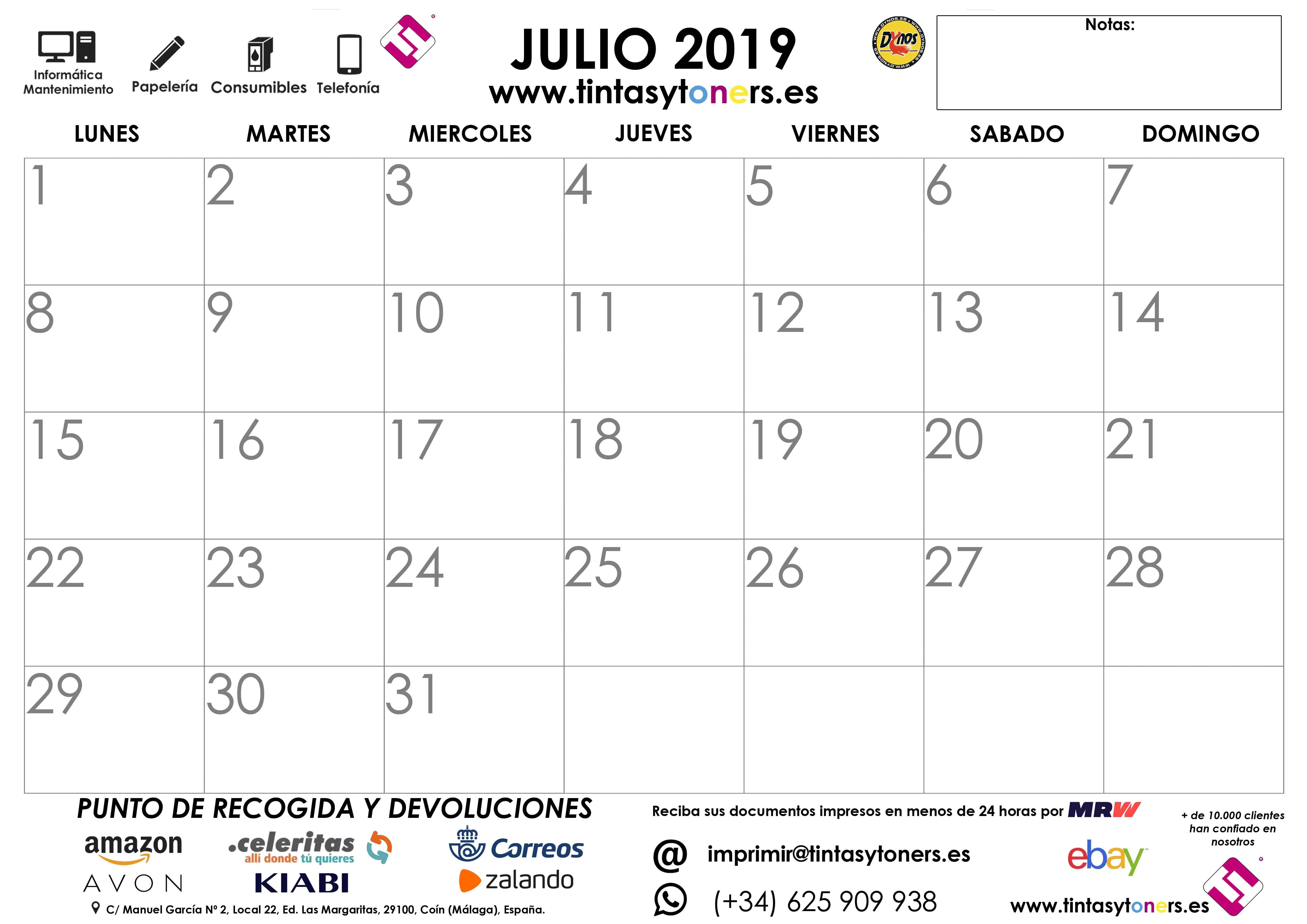 7 JULIO 2019 CALENDARIO TINTASYTONERS