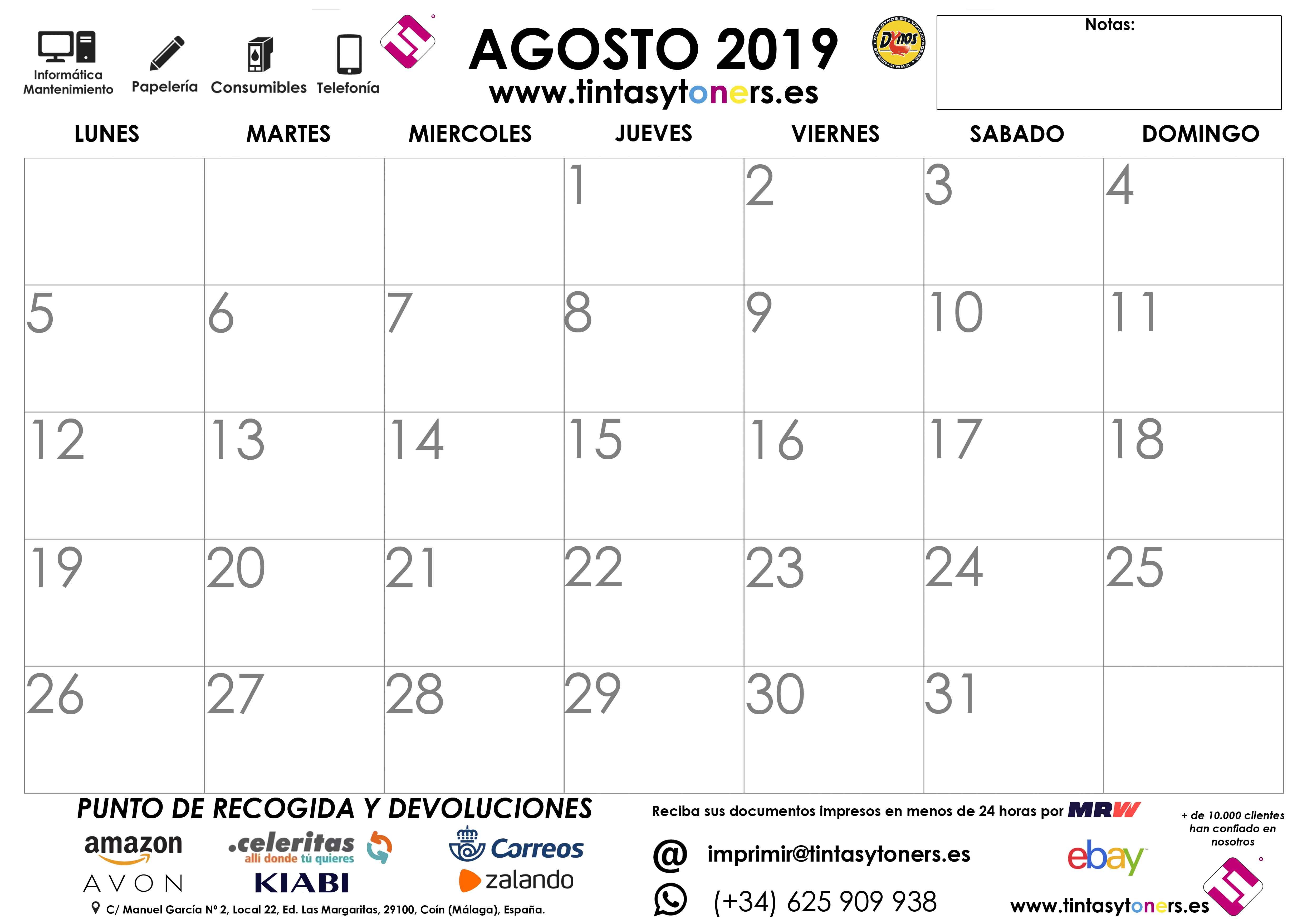 8 AGOSTO 2019 CALENDARIO TINTASYTONERS
